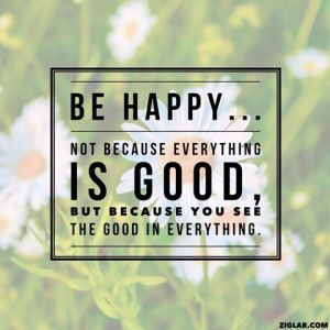 Be happy... not because everything is good, but because you see the good in everything.